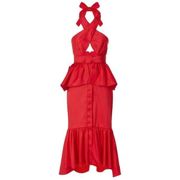 Johanna Ortiz Antillana Peplum Midi Dress ($1,630) ❤ liked on Polyvore featuring dresses, ruched midi dress, halter neck dress, embellished midi dress, peplum midi dress and halter dress
