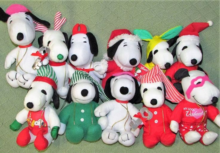 Whitmans SNOOPY Plush Stuffed Peanuts Gang Lot Christmas Easter Valentine's Toys #Whitmans