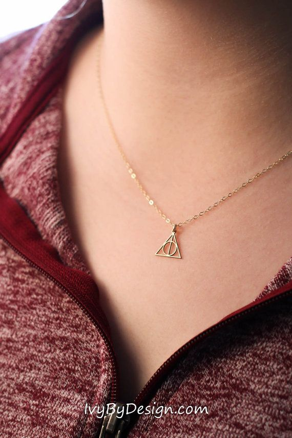 SALE - Deathly Hallows Necklace - Dainty Gold Charm Necklace - Gold Pendant -Harry Potter Necklace -Geometric Gold Necklace…