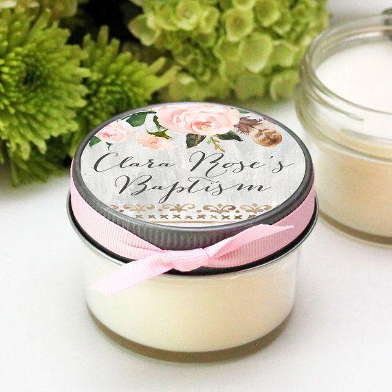 Baptism Favor Candles  Rose Label Design  Christening by lulusugar