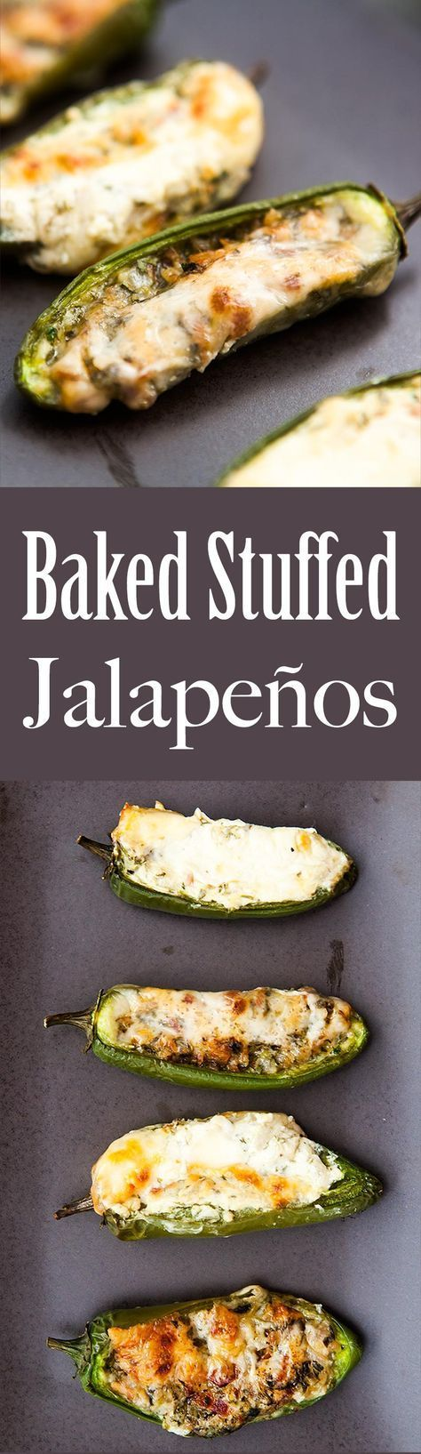 Baked Stuffed Jalapeños! Stuffed with cheese, onions, cilantro and bacon, seasoned with oregano and cumin. Great appetizer for a crowd! On http://SimplyRecipes.com