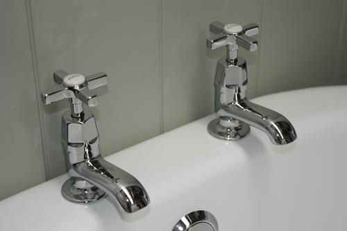 Bath Pillar Taps with Art Deco Tapheads