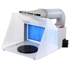 Airbrush Spray Booth Price: £84.98 Airbrush Spray Booth Airbrush Spray Booth folded up for transportation or storage 2 x Airbrush Spray Booths combined for large work area  Price: £84.98 (£70.82 ex VAT at 20%)  Quantity: In Stock  Protect yourself & others from paint particles & vapour by using this simple, lightweight, compact & powerful airbrushing spray booth.