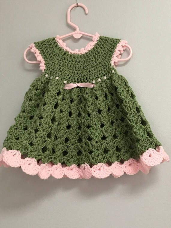 d0f9eabd9003 Tea Green and Pink Infant Girls Dress Size 0-6 Months Baby ...