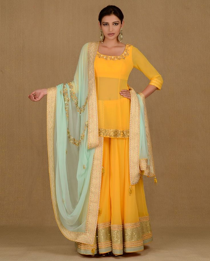 Chrome Lemon Sharara Set - Buy Madsam Tinzin Online | Exclusively.in Shop Online | Indian Bridal Wear | Wedding Wear