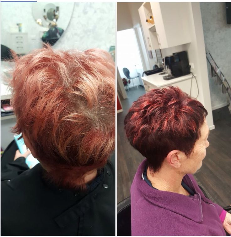 Before and after of one of my lovely clients. I used pravana lock in red.