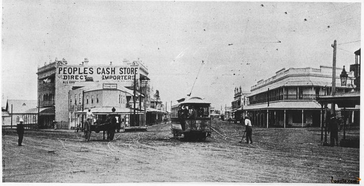 The Woolloongabba Fiveways, 1901. The tram entering Logan Road appears to be a 'Saloon' class model.  The road on the left is Stanley Street and on the right Ipswich Road. The photo was taken on the corner of Main and Stanley Streets.  At this junction Main Street becomes Ipswich Road. To the local population this intersection is known as the 'Gabba Fiveways'.