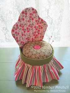 Love this for so many reasons! chair pincushion  It's pink, I need another pin cushion and I've not seen one shaped like a chair!  #sewing #stitchknit