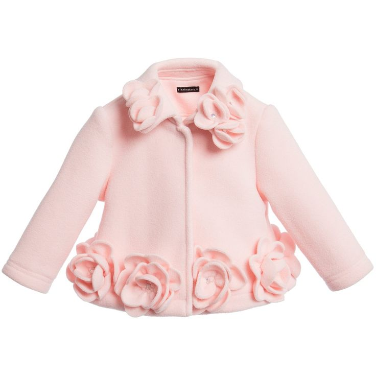 Baby girls pink fleece coat by Kate Mack & Biscotti. In a smart style, the coat has a popper fastener and is decorated with flower appliques with diamante jewel centres. The jacket is soft and lightweight<br /> <ul> <li>100% polyester (soft, lightweight fleece)</li> <li>Popper fastener</li> <li>Flower appliques</li> </ul>
