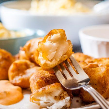 Easy Beer Batter Fish Nuggets with Sriracha Tarter Sauce - My Life Cookbook