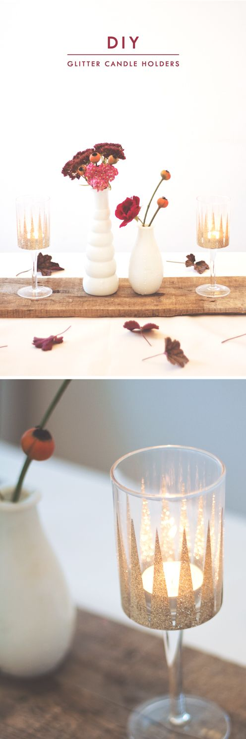 Any time - Glitter Wine Glass Candle Holders