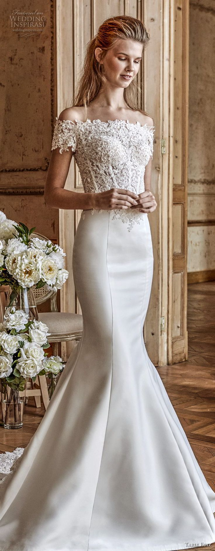 tarik ediz 2017 bridal off the shoulder straight across neckline heavily embellished bodice satin skirt elegant romantic mermaid wedding dress sheer back medium train (31) mv -- Tarik Ediz White 2017 Wedding Dresses