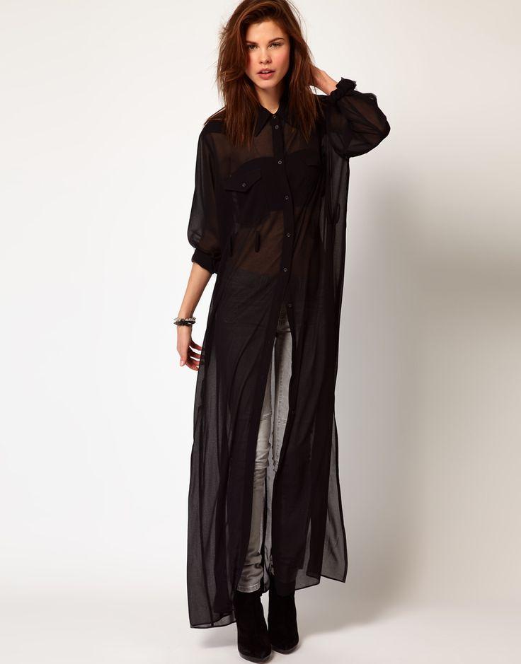 Брендовое прозрачное платье-рубашка в пол с длинными рукавами Diesel