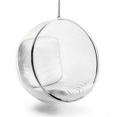 mid century modern hanging globe egg bubble chair by white