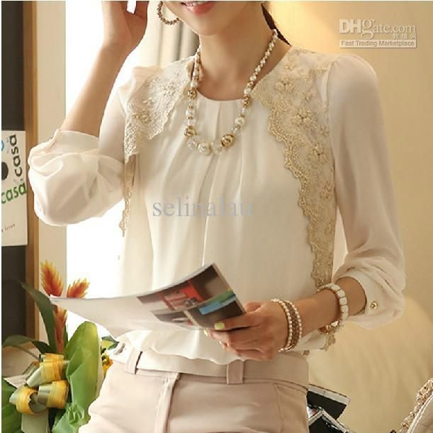 Wholesale Women Chiffon Blouses - Buy Fashion Women Beaded Chiffon Blouse 2013 Women Long-sleeved Lace Blouse with Size S M L XL Women Clothing 082707, $21.96 | DHgate