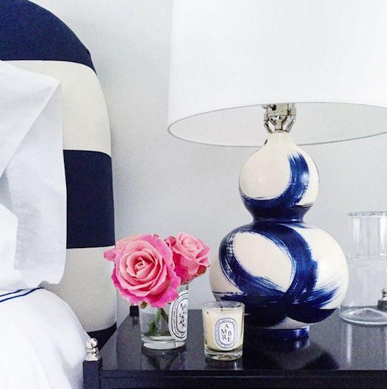 blue and white Jana Bek brushstroke lamp