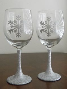 christmas etched wine glasses - Google Search