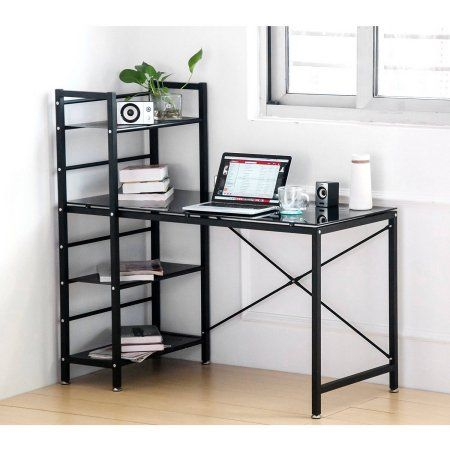 Merax White Glass Computer Desk with Shelves Home and Office Table Furniture, Black