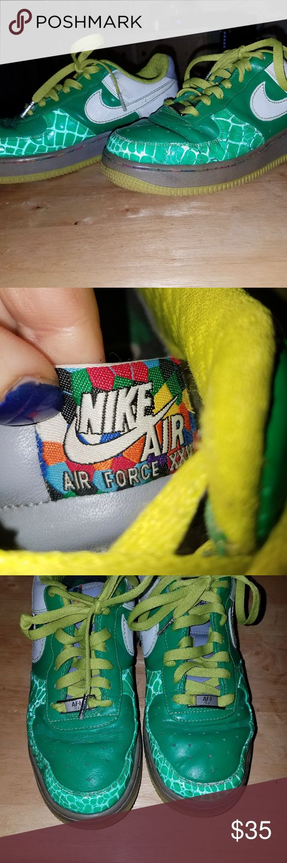 """Vintage Nike AF-1 S. Bronx 82"""" Vintage Nike AF-1 S. Bronx 82""""  6.5 Youth  Special Green, Lime Grn and white Nike Nike Shoes Sneakers"""