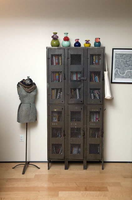 1930s lockers converted to book shelves  Looks like the