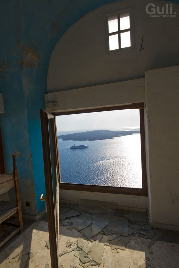 "Abandoned ""Magic sunset"" pool bar, Santorini, Greece *"