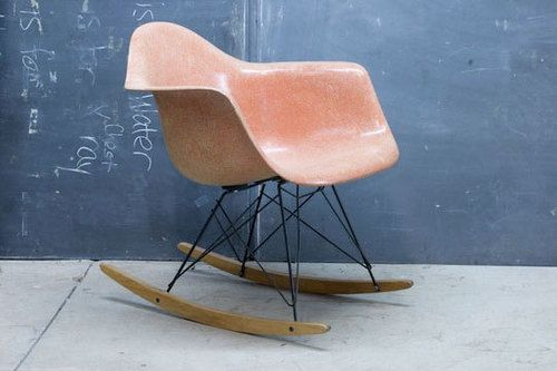 rocking chair: Eames Chairs, Blushes Pink, Eames Rocking Chair, Rocking Chairs, Eames Rockers, Chairs Eames, Pink Chairs, Eames Rocks Chairs, Colour Schemes