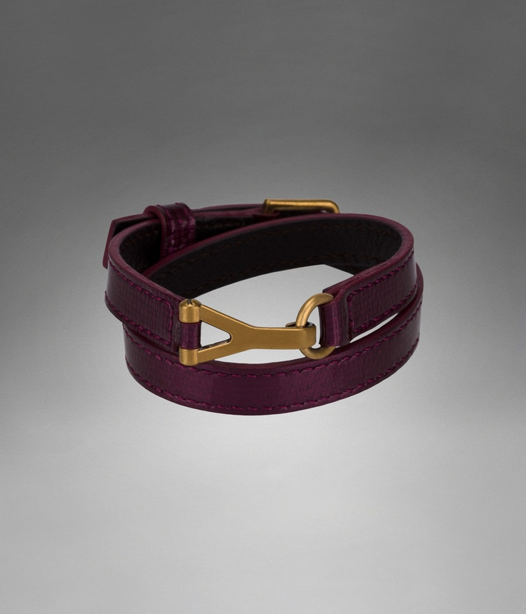 YSL Chyc Double Bracelet in Black Cherry Patent Leather - Cuffs ...