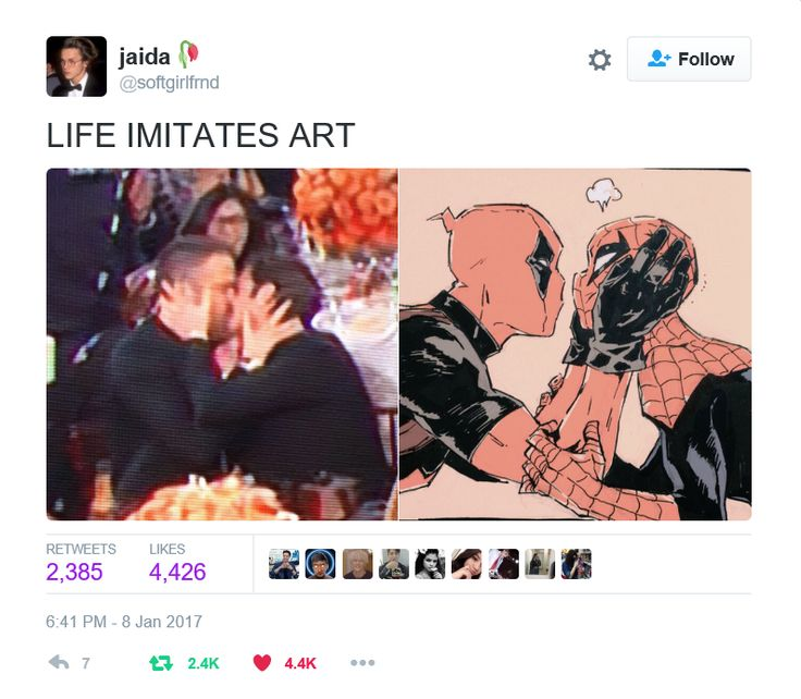 Jaida tweet - Ryan Reynolds and Andrew Garfield kissing at the 2016 Golden Globes