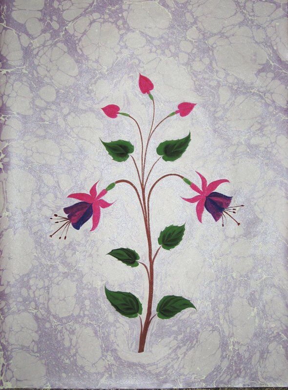 Ebru Turkish marbled paper, fuschia flowers
