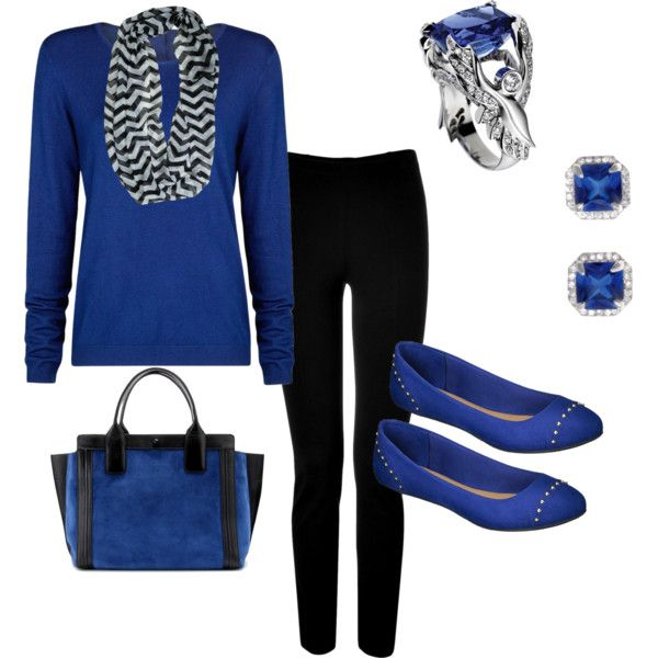 """""""Royal Blue and Black Fall outfit...Angel Ring inspired"""" by colorado-kim on Polyvore"""