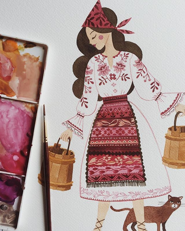 Adding a few last touches to a few illustrations from my Romanian Folk inspired collection. Prints and cards will be available this April.