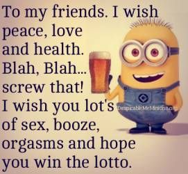 To my friends. I wish peace, love and health. Blah, Blah... screw that! I wish you lots of sex, booze, orgasms and hope you win the lotto. - minion
