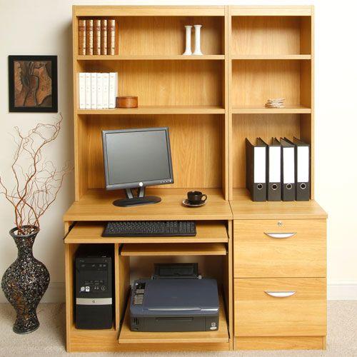 Grange home office computer workstation and overshelves - Inbuilt bookshelves ...