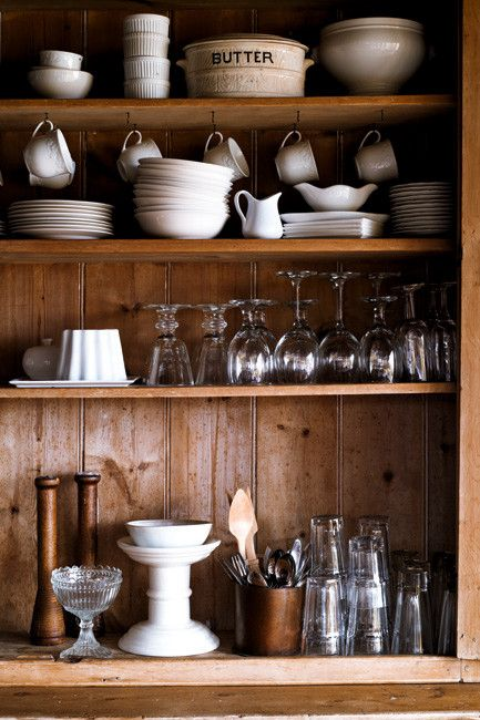 by jared fowler: Kitchens Interiors, Kitchens Design, Open Shelves, Old Dressers, Rustic Shelves, White Dishes, Design Kitchens, Wooden Shelves, Jared Fowler