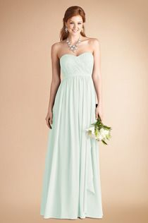 #HintOfMint is such a clean, crisp, beautiful color! And we love how this #DonnaMorganCollection dress is available to ship for immediate delivery! #weddings