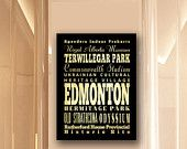 Large Typography Art Canvas of Edmonton, Canada - Subway Roll Art 24X30 - Edmonton's Attractions Wall Art Decoration - LHA-244