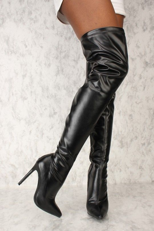 da425bcd57c8e Sexy Black Pointy Toe Thigh High Boots Faux Leather *Kylie Inspired ...