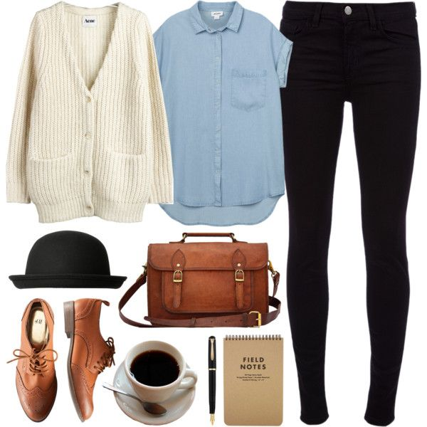Black skinny jeans, brown leather Oxford shoes (or boots) and bag, short-sleeved denim button-up shirt, beige / cream cardigan