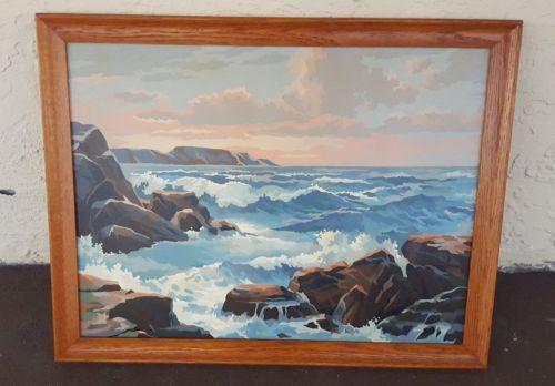 Vintage-Seascape-sunset-ocean-rocks-Paint-by-Number-18x24-Framed