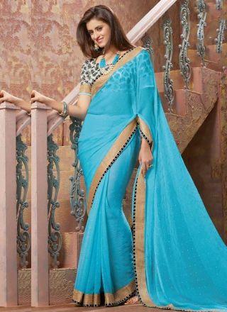 Sky Blue Diamond Work Chiffon Satin Printed Designer Sarees http://www.angelnx.com/Sarees/Designer-Sarees