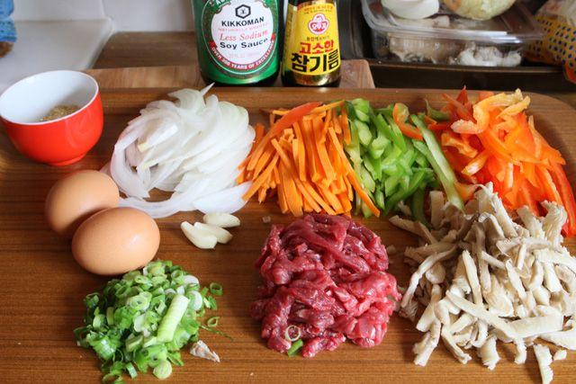 Stir Fried Glass Noodles (Japchae) via Bap Story {Bo Carney and Jeanna Sohn}.
