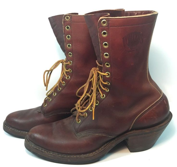 White S Brown Leather Logger Lineman Work Chore Lace Boots