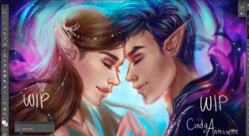 """amourinette: """" WIP. Feysand (Feyre & Rhysand) Finally adding colors and began painting these precious two! 