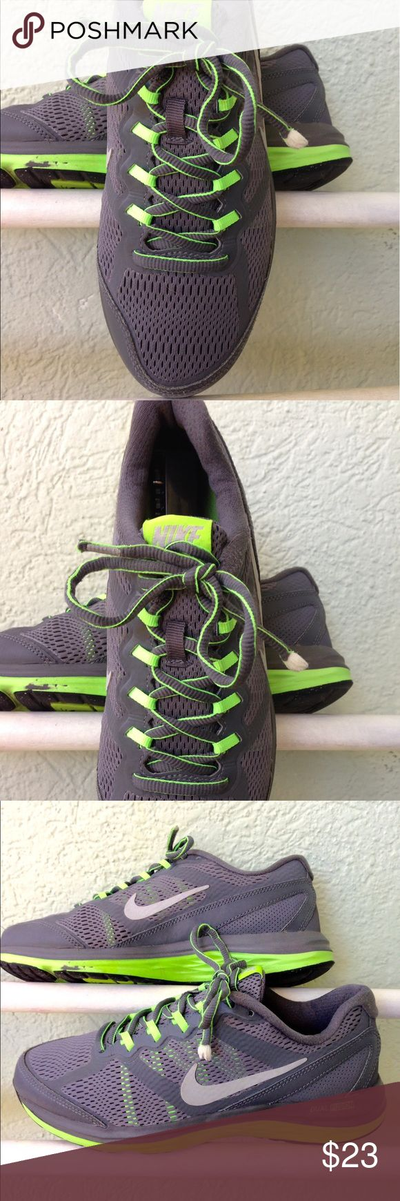 Nike Dual fusion run 3, Size 5 youth sneakers Nike Dual Fusion Run 3, Size 5 youth sneakers in excellent condition. Sneaker colors are gray with neon green string loops NIKE Shoes Sneakers