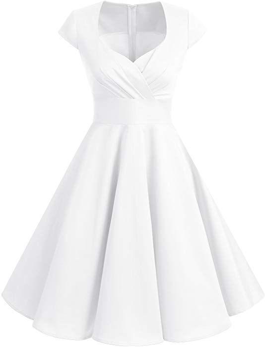 f6b6068cd550f Bbonlinedress Women Short 1950s Retro Vintage Cocktail Party Swing Dresses  Off White M at Amazon Women's Clothing store: