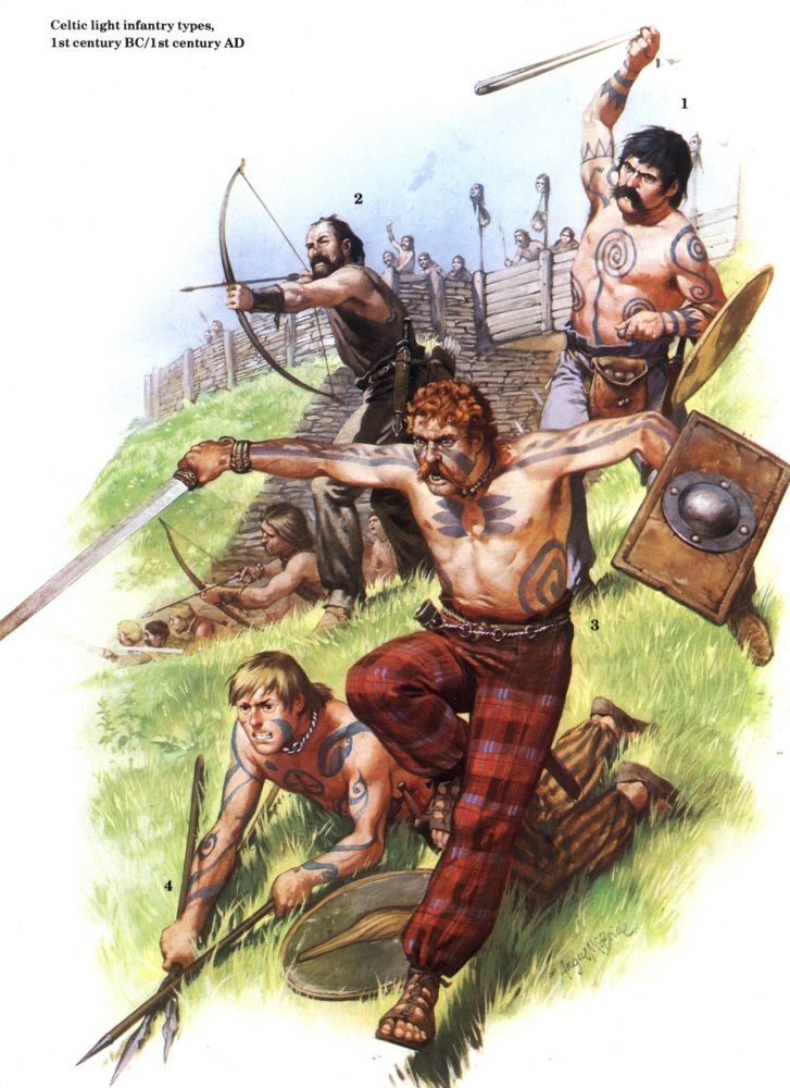 Celtic skirmishers from Britain - 1st century B.C to 1st century AD. Due to the…