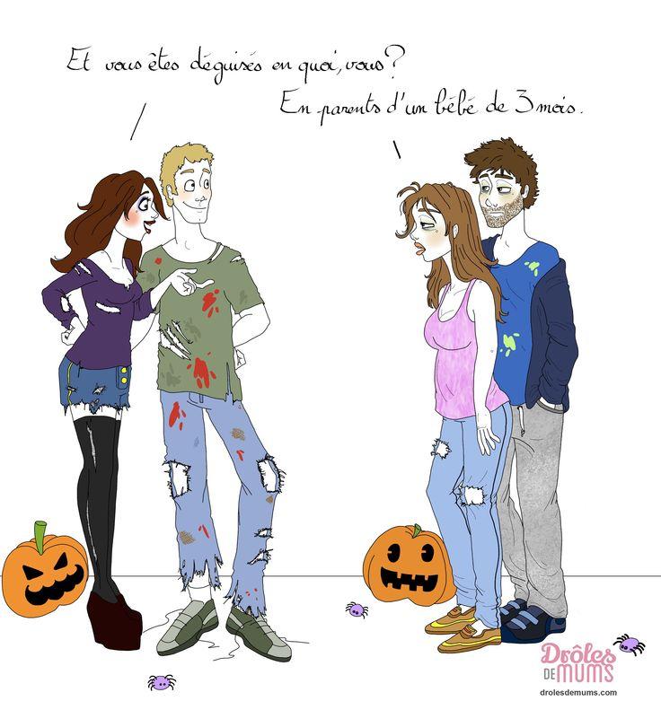 Brrrrrr ! L'avantage quand on est jeunes parents, c'est qu'à Halloween point besoin de déguisement : la tête de zombie, c'est tout le temps ! Happy Halloween…