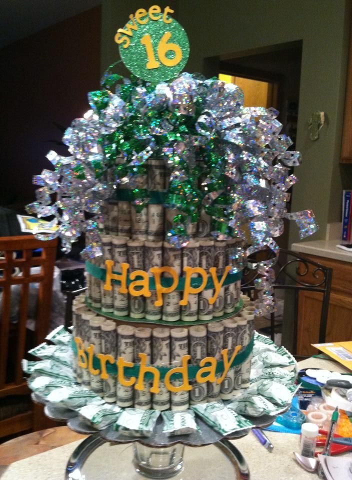 Money cake for my neices 16th birthday fun to make and even more fun to give made out of - Money cake decorations ...
