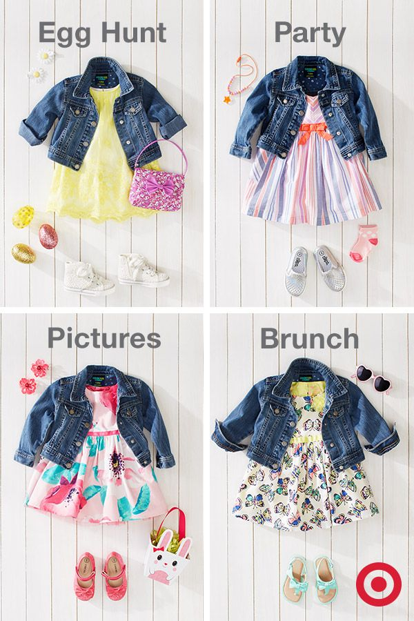 One key piece. Four great ways to wear it. Start with a cute denim jacket; with the right dress, shoes and accessories, you can make it work for a variety of occasions—from casual to dressy. Your little girl will be stylin' for Easter, whatever the fun.