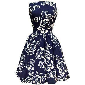 Navy Bliss Floral Tea Dress ($98) ❤ liked on Polyvore featuring dresses, vestidos, short dresses, blue, robes, blue dress, vintage tea party dresses, blue skater skirt and short blue dresses